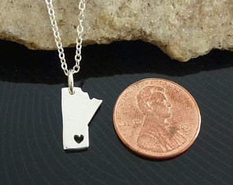 Tiny Sterling Silver Manitoba Necklace / Custom Heart / Small Manitoba Necklace / Love Manitoba  / Province Necklace / Manitoba Wedding