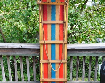 AMAZING Vintage Withington Continental Wood Toboggan Snow Sled Made in the USA