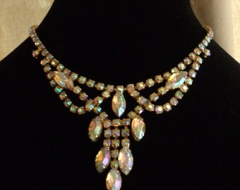 Vintage Aurora Borealis AB Necklace Marquise Crystal Navette Bib