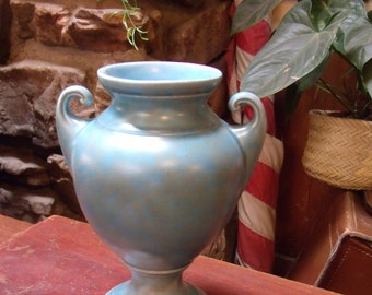 Vintage Cloudy Blue Vellum Style Brush Vase