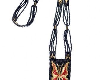 The 1920's Art Deco Beaded Sautoir BUTTERFLY Bohemian Flapper Necklace