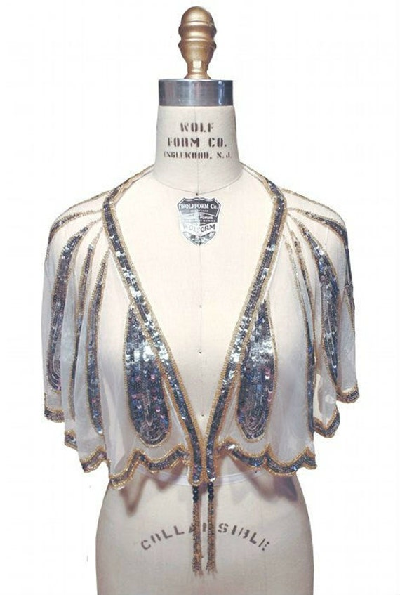 1920s Style Wraps Ethereal 1920s HARLOW Beaded Flapper Wedding Shawl CAPELET by The Deco Haus $134.95 AT vintagedancer.com