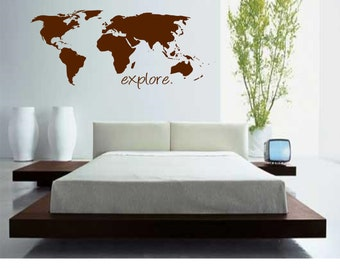 World Map with Explore Wall Decal