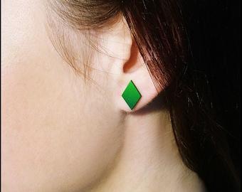 Green diamond stud earrings / Green studs / Sims stud earrings / PlumbBob studs / Video game studs / Sims post earrings / Polymer clay