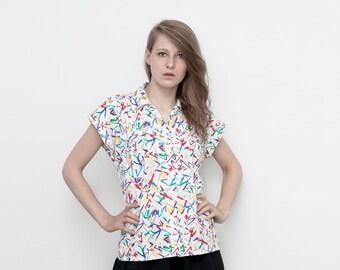 SALE !! vintage color splash confetti print secretary blouse