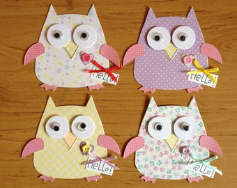 4 large Assembled Owl Card toppers for cards cardmaking papercraft projects *adorable*