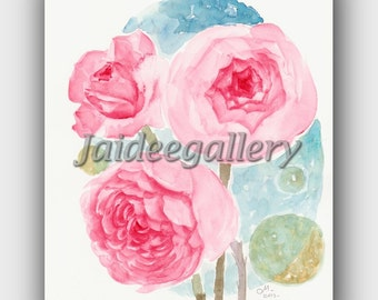 Rose painting, Flower Watercolor painting, Floral painting, Original Watercolor Art Painting on paper 8x10 in