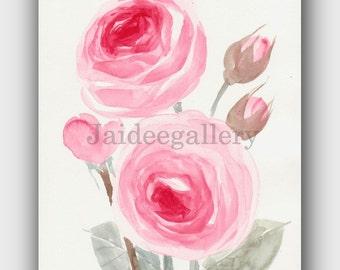 ORIGINAL FLOWER PAINTING, Watercolor flower art,Floral rose painting on paper 6x8 in