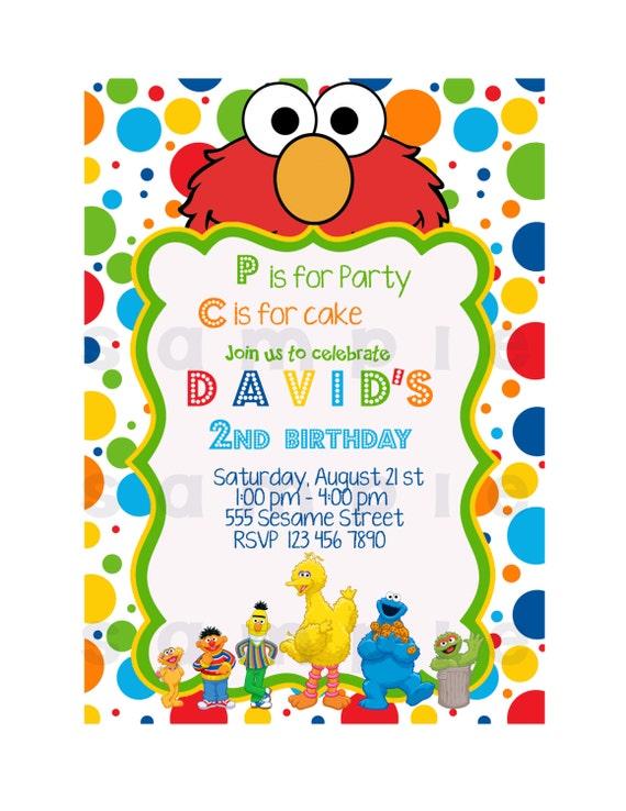 Sesame Street Invitation, Printable Invitation. Elmo