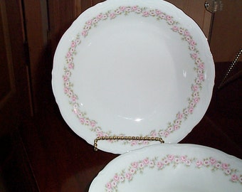 Mitterteich Lady Beatrice 4 Soup Bowls  Bavaria Germany Pink Flowers Great Used Condition