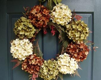 WREATH   Hydrangea Wreath   Autumn Wreath   Fall Wreath   Autumn Wreath   Fall Decor   Fall Door Wreath   Fall Wreath for Door