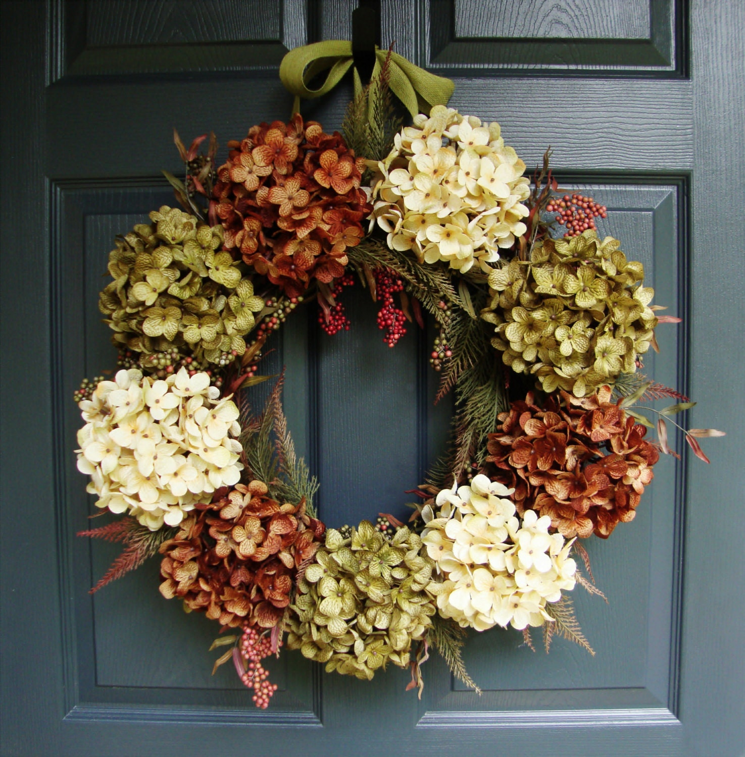 WREATH Hydrangea Wreath Autumn Wreath Fall Wreath