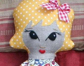 Vintage inspired cloth doll in yellow with Liberty fabric dress