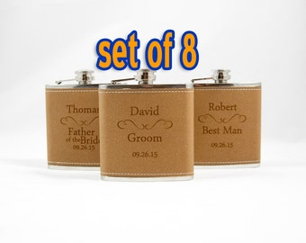 Engraved flasks, 8 Leather Engraved Flasks 6oz for Groom, Best Man, Groomsmen, father of the bride, Hip Flask SET OF 8 - CLASSIC