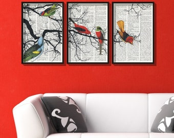 BIRDS ON A BRANCH Collage Print on Vintage Dictionary paper, Set of 3 Colorful dictionary art pages, Triptych, Upcycled Book Wall Art, #041