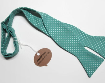 Freestyle Teal Bow Tie - Polka Dot Bow Tie - Handmade Men's Bow Tie - Self-Tie Bow Tie in Teal and White