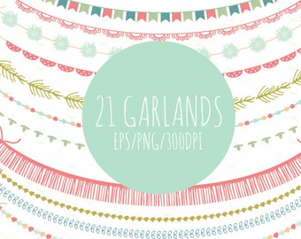 21 Garlands Clipart // Vector and PNG // Bunting Flags // Party Decor // Garlands Decor