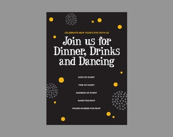 New Year's Eve Invitation- NYE Invitation- New Year's Eve Invite- New Year's Eve Invite- New Year's Eve Party