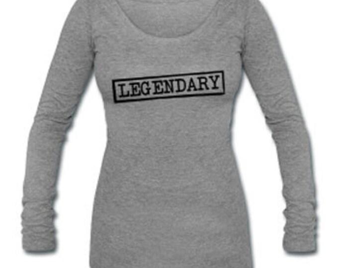Legendary Long Sleeve Tri-blend Women's Wide Neck Gray T-shirt
