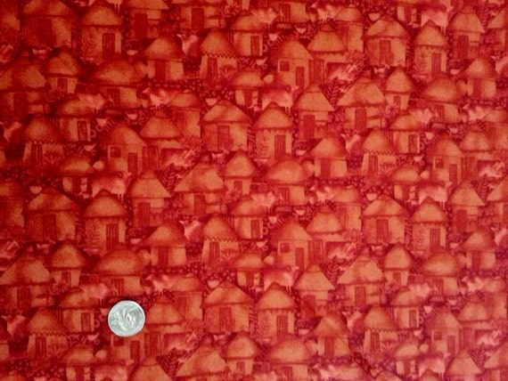 Cranston Quiltshop Vip Red Tonal Huts Village Cotton Fabric By