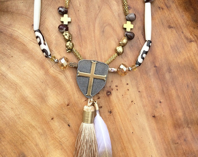 Handmade Tribal Necklace, Medieval, Boho, Festival, Bone, Feather, Statement, Sexy, Unique, Native, Hand Painted (Royalty Necklace 2)