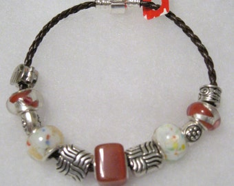 170 - Rust and White Beaded Bracelet