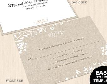 Rustic burlap spring floral wedding RSVP postcard template|Editable word.doc| Response card| Wedding rsvp| Reply card| Wedding template| RB1
