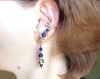Blue Lapis Silver and Gold Ear Cuffs, pair, elegant and comfortable. Perfect for a special occasion or with a pair of jeans.