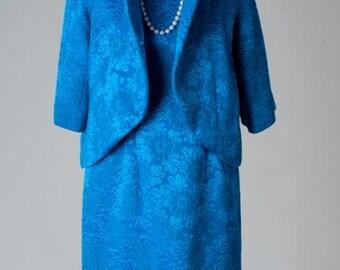 Vintage 1950s Blue brocade Dress and Jacket Set/Free U.S. Shipping