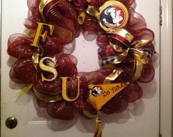 Seminoles Fsu wreath,Fsu Football wreath,Colligate wreaths,Noles wreath,Deco Mesh Noles wreath,Deco mesh FSU Wreath,FSU football wreath
