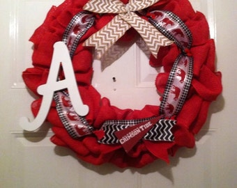 Alabama Collegiate Burlap Wreath, Roll Tide Wreath,Collegiate Wreath,Bama Burlap Wreath,College Football Wreath,Alabama Roll Tide Wreath