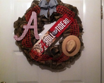 Camoflauge Alabama Roll Tide Burlap Wreath,Camo Bama Wreath,Camo Burlap Wreath,Camo Bama Burlap Wreath, Bama Camo Wreath,Camo Wreath
