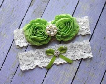Green Wedding Garter, Garter Set, Bridal Garter, Keepsake Garter, Toss Garter, Apple Green Garter, Ivory Garter, Wedding Garter Belt