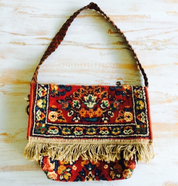 Antique Indian Fringe Rug Cross Body Purse // Backpack By