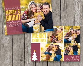 Christmas Photo Card Template - Christmas Template Holiday Card for Photographers - Christmas Photoshop Template - CC12