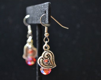 Silver Tone Red AB and Heart Dangle Earrings