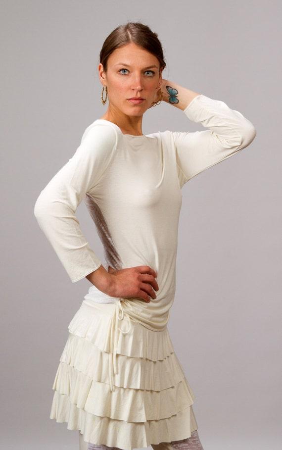 Darlene Ruffle Mini Skirt In White for Womens  Boho Chic Summer Fashion Festival Wear Gift for Her Wholesale