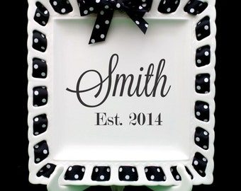 Monogrammed Square Plate ~ Prissy Plate ~ Ribbon Plate Kitchen Decor Home Decor Wedding Gift Personalized Plate Monogrammed Gift