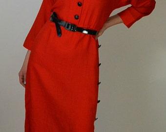 Bright Red Secretary 80s Dress// 80s Dress// Secretary Dress// Red Dress// 80s does 50s// Wiggle Dress
