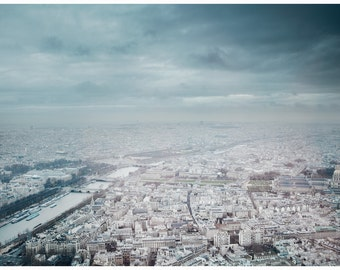 """Big size Paris Poster 39 1/4 x 27 1/2 """" (100 x 70 cm) of a photograph taken from the top of the Eiffel Tower in Paris, France."""
