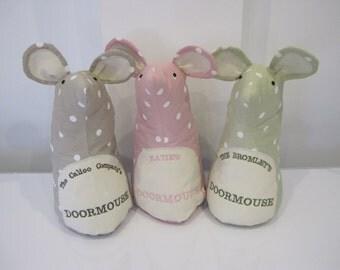 DOORSTOP DOORMOUSE - personalised door stop. Fabric doorstop. Mouse doorstop. Personalised doorstop. Home decor.