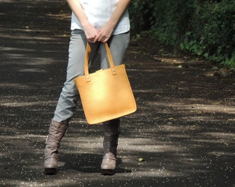 SALE 30% OFF MUSTARD Leather Tote in Python Leather  by Anna & Co.