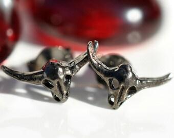 Southwest inspired longhorn cow skull stud earrings in dark chocolate