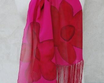 Pink silk scarf, silk scarf, hand painted scarf, Georgette silk, floral scarf, pink flowers, fringed scarf, Christmas gifts, gift for her