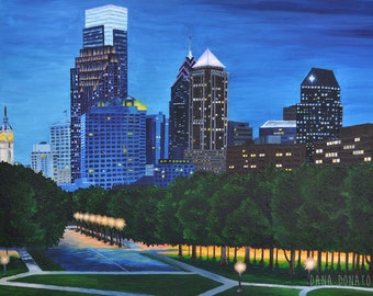 Oil Painting Philadelphia Skyline City Night, Blue Green Orange, Philly PA, Original Art - 24 x 30, Oil on Canvas and Ready to Hang