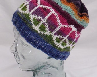 Striped Peace Hat - Hand-Knit Soft, Machine Washable Wool Hat