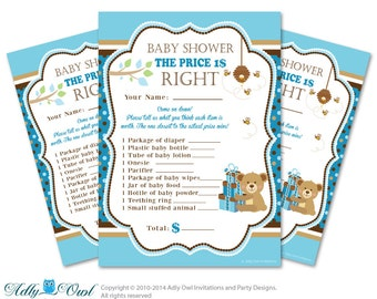 Boy Teddy Bear Price is Right Game Printable Card for Baby Teddy Bear  Shower DIY Blue Brown Polka - ONLY digital file - aa18bs12