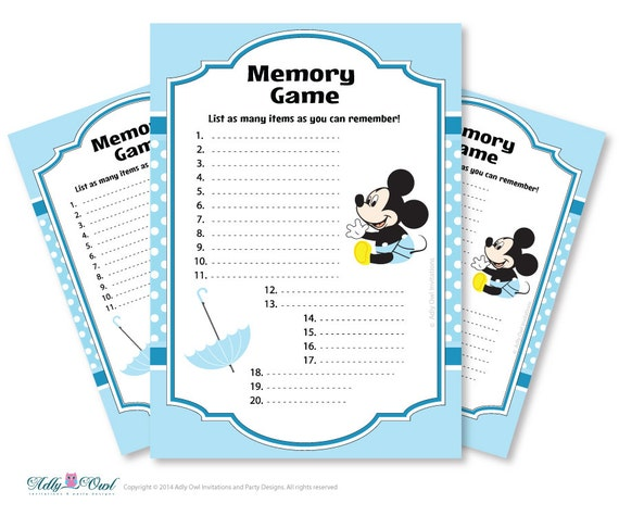 mouse memory game for baby shower printable card for baby mickey mouse