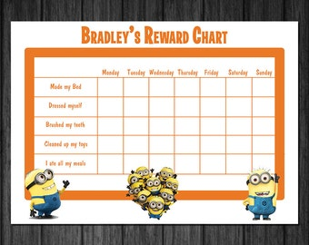 Personalised Minions Kids rewards chart, chart for toilet ...