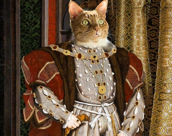 King Henry VIII - Custom Pet Portraits - Dog Portraits and Cat Portraits - Digital personalized pet portrait painting using your Photo